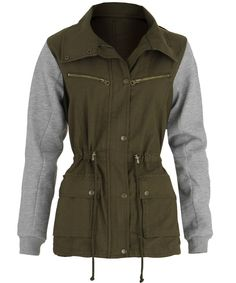 military jackets for women | Military Jacket for Women Gray Jersey Sleeve Collared Drawstring Size ...