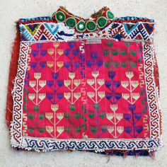 Afghanistan- Vintage Textile Remnant, Dress Yoke /// Afghan Tribal Arts /// Cool Supplies for fiber artists from TAFA /// http://www.tafaforum.com/market/tafa-market-supplies/