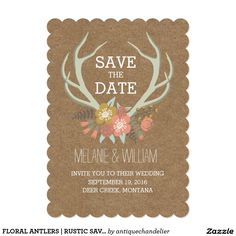 FLORAL ANTLERS | RUSTIC SAVE THE DATE