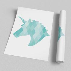 Poster ou Tela MDF - Turquoise unicorn