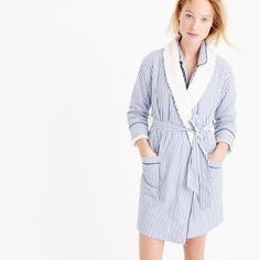 Sherpa-lined robe in pinstripe vintage end-on-end cotton