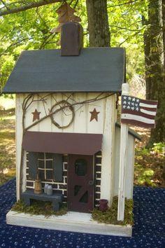 Vintage Folk Art Worn White Americana Farmhouse Primitive Saltbox Birdhouse