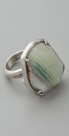 Green agate ring.