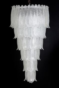 Italian Murano Glass Cascade Chandelier by Seguso, Vetri d'Arte circa 1980