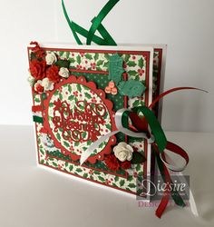 Mel Jess - Die'sire Classiques Christmas Only Words - Square Tag Card - Christmas Only Words Christmas Blessing - White Card - Core'dinations - Spectrum Noir - DR2, JG3 - Sentimentals Happy Holidays - Spray & Sparkle - Mulberry Flowers - Ribbon - Gems - Collall Tacky Glue - Red Tape - #crafterscompanion #Christmas