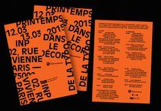 """Proposition d'affiche(s) [format A0] et d'invitations [format A5] pour la sixième édition du Printemps de la Typographie organisé par l'école Estienne. """"Dans le décor, Printemps de la Typo 2015 12 & 13 Mars à l'auditorium Colbert (INP) 02, rue..."""