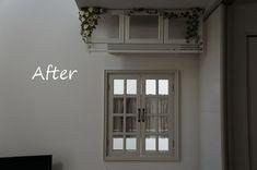 6 steps of DIY instruction how to make a french & antique style - shabby chic window frame decor.『DIYでシャビーシックなインテリア&ガーデニング』フレンチ風飾り窓 窓枠 DIY 作り方