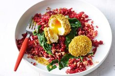 Dukkah-rolled eggs with freekeh and beetroot