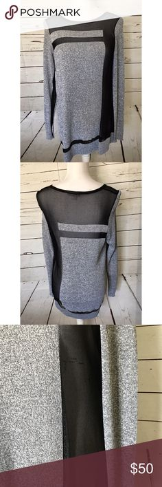 Helmut Lang grey mesh long sleeve tunic blouse M Beautiful Helmut Lang Tunic Top. Grey with mesh insets. Wear casually with leggings or black jeans or even dress it up for career wear!  Overall great condition. Some snags in mesh. Not notice unless you're close (see pic) Size Medium. Helmut Lang Tops