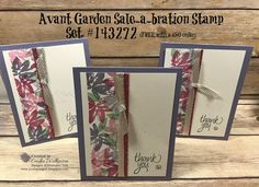 Just Sponge It: Avant Garden Thank You Cards, Avant Garden (SAB), All Things Thanks stamp set, 6 x 6 Glimmer Paper Assortment (SAB), Metallic Ribbon Combo (SAB), Metallic Enamel Shapes, DIY, Thank you Cards, Stampin' Up!