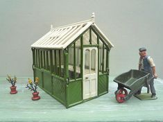 Your place to buy and sell all things handmade Miniature Greenhouse, Small Greenhouse, Miniature Gardens, Garden Items, Garden Accessories, Miniture Things, Old Toys, Potted Plants, Gazebo