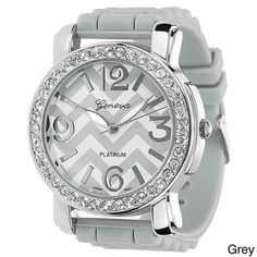 Geneva Women's Platinum Silicone Watch | Overstock.com SERIOUSLY CUTE! we have some almost just like these.. but not in grey at work!!!