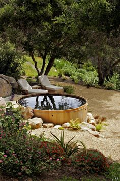 "The ""spool"": Smaller than a swimming pool but larger than a jacuzzi. Made from a converted galvanized horse tank. In Santa Barbara, California Outdoor Spaces, Outdoor Living, Outdoor Tub, Outdoor Bathrooms, Outdoor Decor, Outdoor Fire, Stock Tank Pool, Small Pools, Backyard Landscaping"