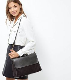6a48f0727b4 Black Leather-Look Satchel | New Look Puffer Jackets, Boohoo, Purses And  Bags