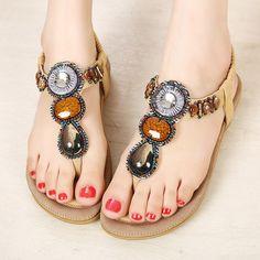 New Beach Woman Sandals 2016 Summer Bohemia Slippers Flip Flops Lady Flat  Sandals Beach Thong Shoes For Women Zapatos 4d5873cd6ecb