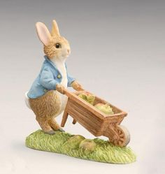 Peter Rabbit Pushing Wheelbarrow - Beatrix Potter Figurine