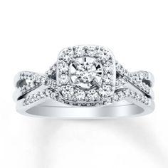 Diamond Bridal Set 1/2 ct tw Round-cut 10K White Gold