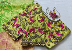 Stunning parrot green color designer blouse with flying design hand embroidery thread work. Choli Blouse Design, Wedding Saree Blouse Designs, Pattu Saree Blouse Designs, Best Blouse Designs, Simple Blouse Designs, Diana, Designer Blouse Patterns, Hand Embroidery, Embroidery Blouses