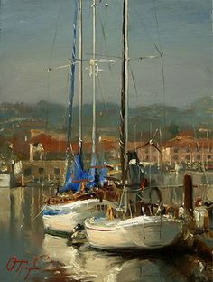 Yacht and Boat Painting by Oleg Trofimov, Russian Artist