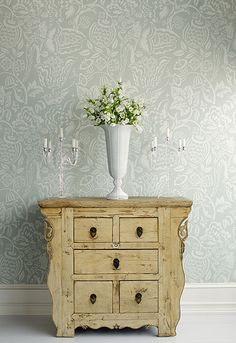Schumacher Uccello Wallpaper in Stone - neutral gray and cream colors