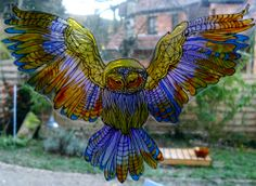 FOREST OWL  wicoart HANDMADE STAINED GLASS EFFECT WINDOW CLING EASY TO APPLY AND TO REMOVE HAND PAINTED WITH GALLERY GLASS AND GLASS PAINT PEBEO ON AN ELECTROSTATIC VINYL SHEET ONE OF A KIND OOAK