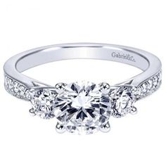 Designer Collection Gabriel & Co Three stone rings for engagement . Shop at Id Jewelry the largest online store for three stone rings engagement in NY. Round Diamond Engagement Rings, Three Stone Engagement Rings, Three Stone Rings, Wedding Day, Wedding Rings, Designer Collection, Round Diamonds, Vintage Designs, White Gold