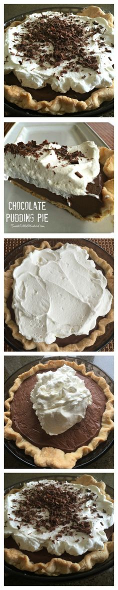 THE BEST HOMEMADE CHOCOLATE PUDDING PIE RECIPE - Wonderful flaky pie crust filled with dreamy homemade chocolate pudding, topped with fresh whipped cream and sprinkled with chocolate shavings. Cool, c (Cool Desserts Crusts)