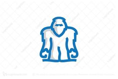 Yeti logo. Yeti logo for sale. Logo is created with lines forming a yeti in blue color with grey parts on his body.  Yeti Logo