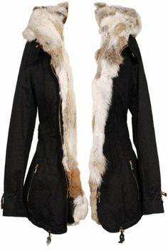 parka courte capuche coton - fourrure intérieur lapin véritable fb5dfbcb4a62