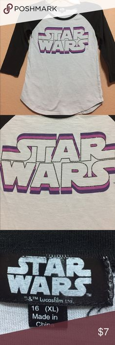 """Star Wars Tshirt Preloved and in good condition. Some pilling and fading. Girls size 16/XL. Could possibly work for women's XS. Measurements: chest 15"""" length 21.5"""". Star Wars Shirts & Tops Tees - Long Sleeve"""