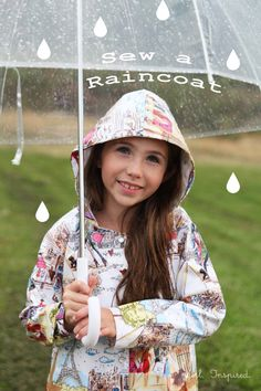 Learn how to sew a raincoat - pattern suggestion and tips for sewing with laminated cotton Sewing Projects For Kids, Sewing For Kids, Free Sewing, Sewing Hacks, Sewing Tutorials, Sewing Tips, Sewing Ideas, Sewing Clothes, Diy Clothes