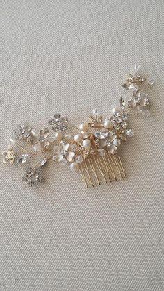 Or Bridal cheveux peigne, bandeau mariage, peigne à cheveux strass, accessoire de cheveux de mariage