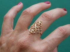 Flower in a Diamond Shape Ring, Oriental Ring, 14K Yellow Gold Plated Ring
