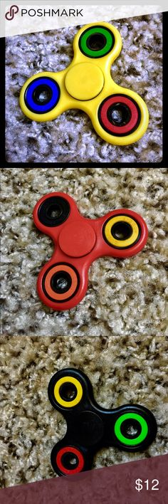 Multi Colored Fidget Spinners - 4 main framecolors Brand new in box multi-colored Fidget Spinners available in 4 colors  Fun toy for ADHD ADD stress relief or just plain fun  if interested in more , please send us a chat message. We ship FOR FREE same day on transaction made prior to 4pm CST Accessories