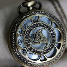 Triple Horn of Odin pocket watch necklace W29 by helenajeane