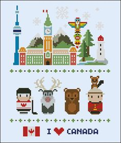 Canada icons - Mini people around the world - PDF cross stich pattern