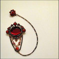 Hijab pin, red ith-nain (Islamicgems)