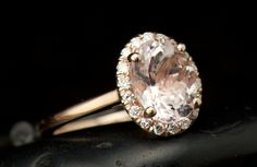 Oval Morganite and Diamond Halo Engagement Ring in Rose Gold,1.50ct Morganite Center, Prong Set Diamond Halo, Fit Flush Design, Maria C by DiamondDoveJewelry on Etsy