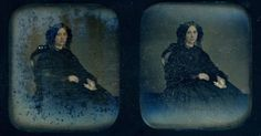 Image of a young lady in black mourning clothes, sitting in a chair, clutching a handkerchief, 1860. Hand-colored stereo daguerreotype.