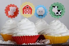PRINTABLE Barnyard Farm Cupcake Toppers. by HilltopCustomDesigns, $5.00