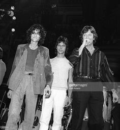 Jeff BECK and Eric CLAPTON and Jimmy PAGE, L-R: Jimmy Page, Jeff Beck and Eric Clapton, onstage at Ronnie Lane Benefit concert