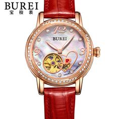 >> Click to Buy << BUREI Elegant Crystal Sapphire Ladies Genuine Leather Automatic Mechanical Watch Hollow Wristwatch With Premiums Package 15032 #Affiliate