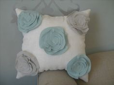Stuffed Morning Dew Garden Rose Pillow in French by dedeetsyshop, $34.00