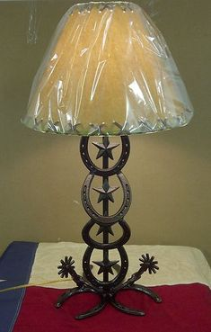Horse Shoe Spurs Table Lamp Without Lamp Shade Custom Western Rustic Country | eBay