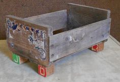 Vintage Funky WOOD CADDY BOX, Block feet, ooak, rustic, garden decor, primitive tote, shabby, farmhouse, country style