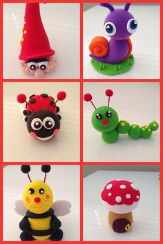 Come new ideas for our our parties and workshops. Cake Topper Tutorial, Fondant Tutorial, Fondant Icing, Fondant Toppers, Diy Clay, Clay Crafts, Fondant Animals, Clay Animals, Garden Cakes