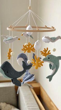 Coastal Nursery, Ocean Themed Nursery, Bird Nursery, Diy Nursery Decor, Nursery Neutral, Boy Mobile, Baby Crib Mobile, Baby Cribs, Baby Room Art