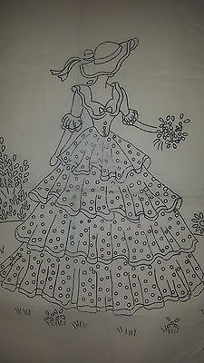 Vintage Robin Crinoline Lady Embroidery Transfer Pattern 8100