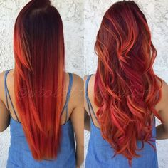 Red hair color inspo from long straight hair to loose curls #red #auburn #hair #color