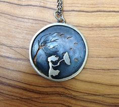 Girl with umbrella and tree in the wind by NatashaWoodJewellery, $75.00
